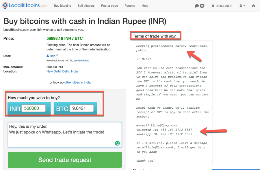 Buy Bitcoins with cash in India