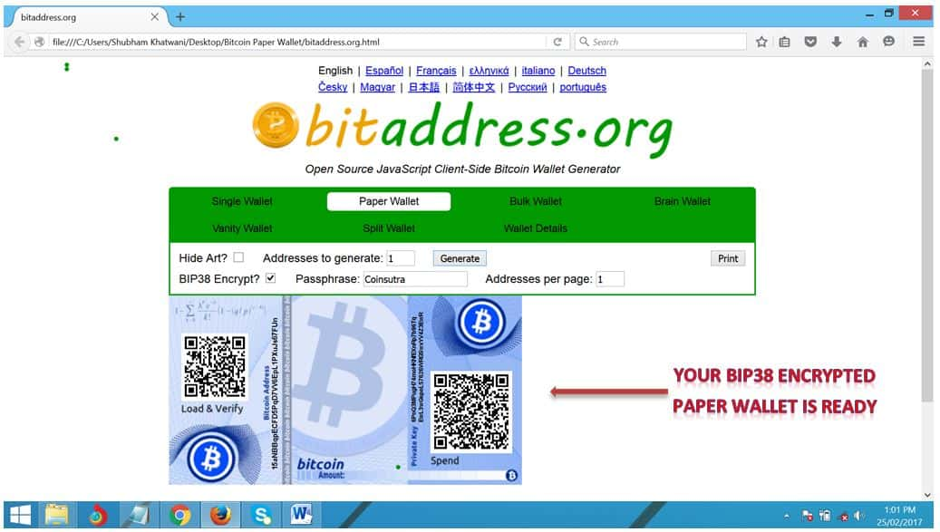 how to create a paper wallet bitcoin