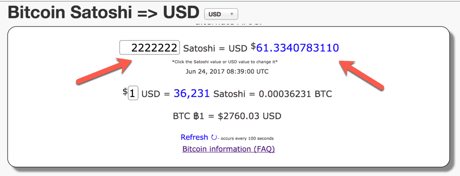 How To Convert Satoshi To USD