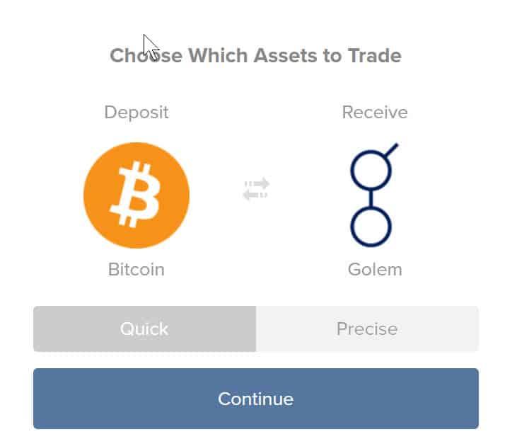 Buy GNT fromShapeshift