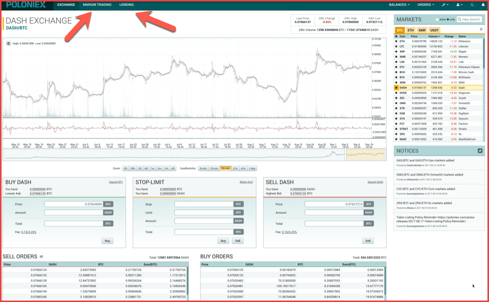 Poloniex Exchange interface