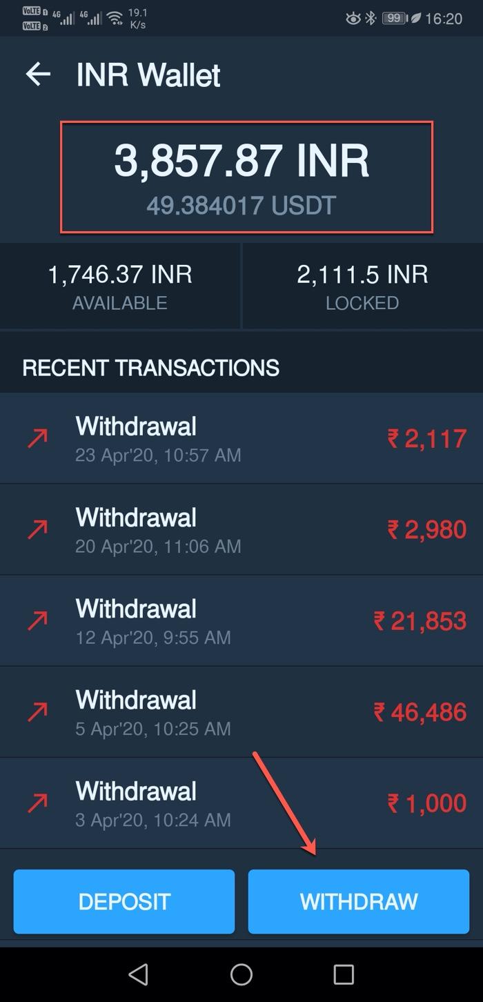 BTC INR Withdrawal