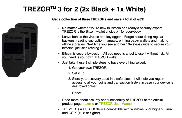 Buy 3 Trezor Hardware Wallet At The Price Of 2- Cyber Monday Discount