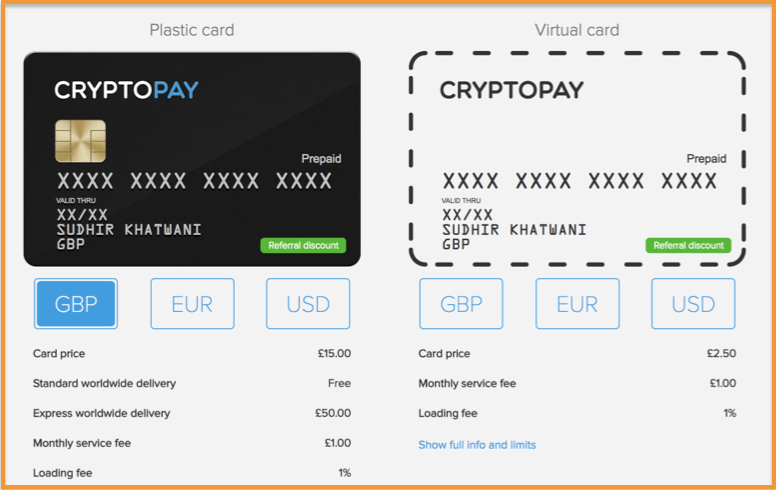 Cryptopay's Bitcoin Debit Card