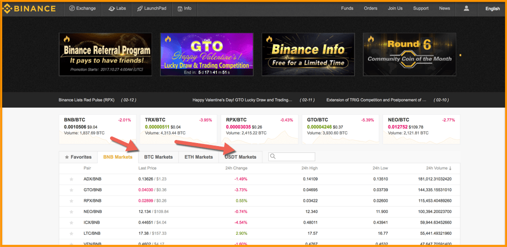 Binance-Homepage