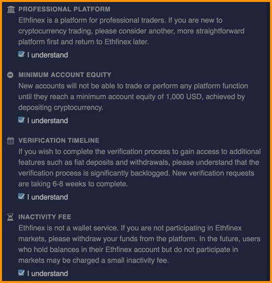 Ethfinex's Registration