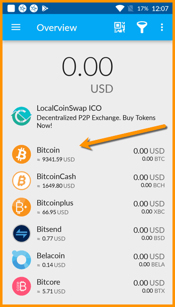 Bitcoin wallet in Coinomi