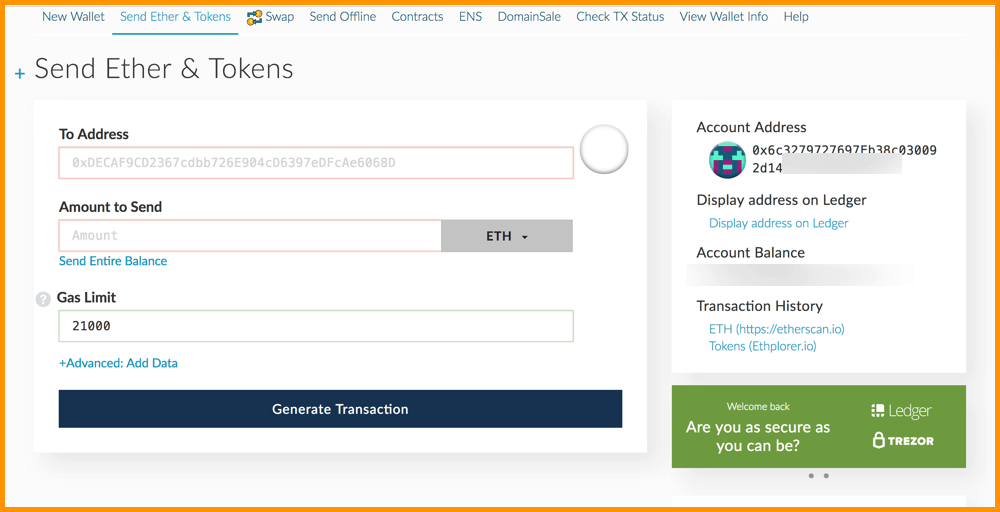 Unlock your wallet MyEtherWallet