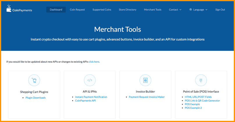 CoinPayments Merchant tools