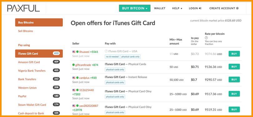 ... iTunes gift card. Buy BTC From Paxful
