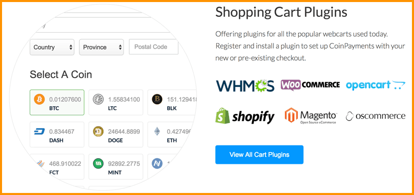 CoinPayments Shopping cart plugins