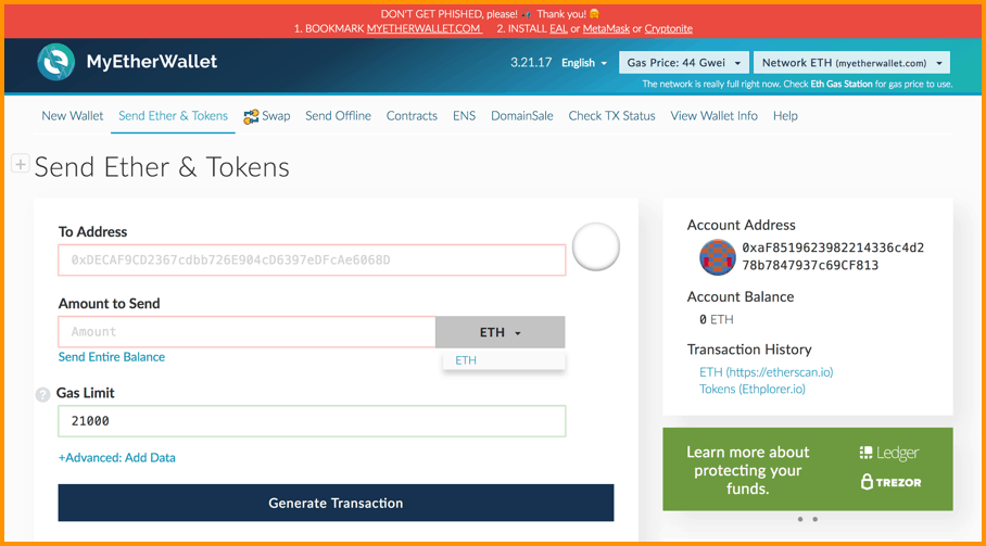 MyEtherWallet send receive ERC20 tokens and Ether