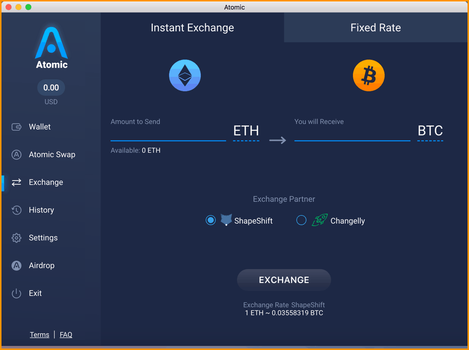 Atomic wallet in-built exchange