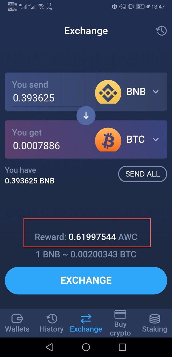 AWC token reward